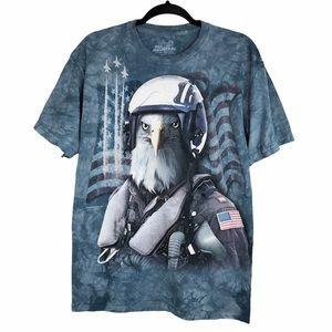 The Mountain Blue Tie Dye Eagle Print T-Shirt